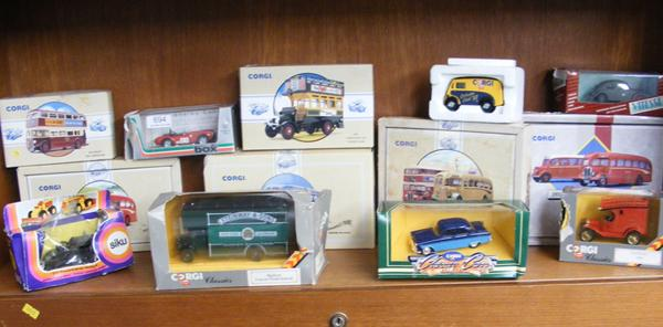 13x Various buses & cars-all damaged boxes, but models ok