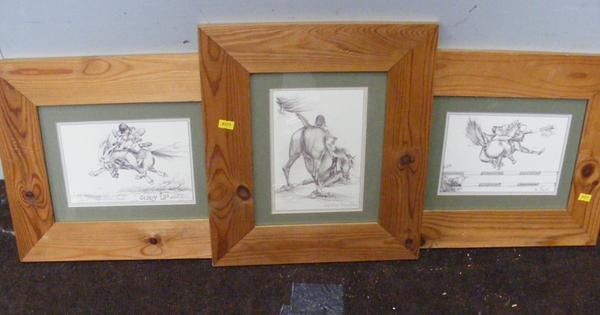 3x Framed drawings by Lesley Bruce-horse & pony themed