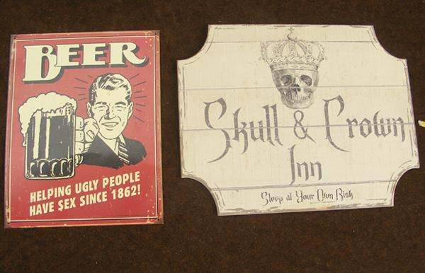 Metal beer sign/ metal and skull and crown inn plaque