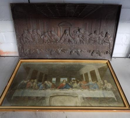 Large cast 'Last Supper' and framed 'Last Supper' print