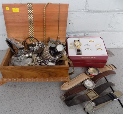 Selection of costume jewellery & watches inc wooden box