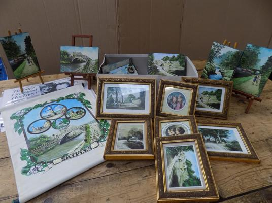 Assortment of miniature framed or wood mounted prints by John Brook + hand finished scroll & mini easels