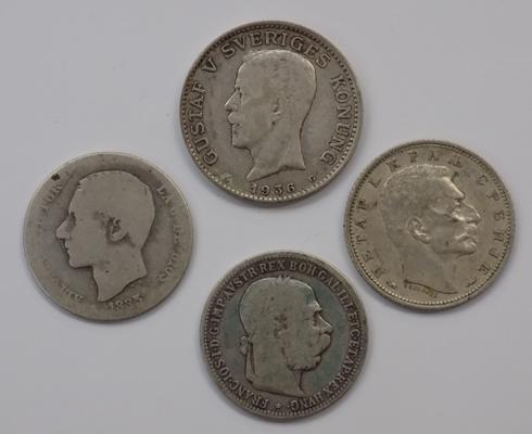 Four foreign silver coins