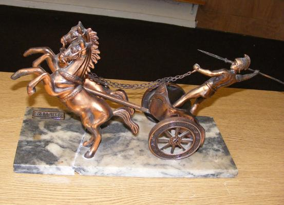 Achilleas on chariot statue, bronzed, damaged marble base & leg