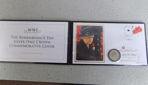 WWI 1918 Remembrance Day silver half crown commemorative cover, edition limit 299
