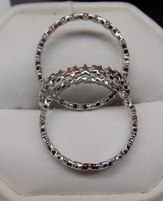 3 x Sterling silver stacker band rings