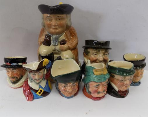6x Miniature, 1 small +1 large Toby jugs