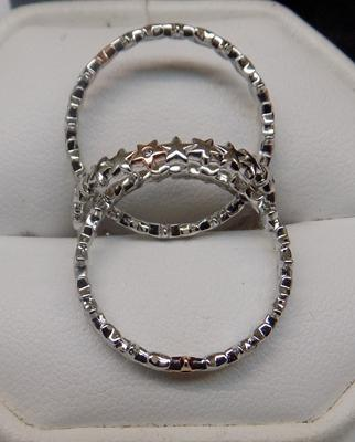 3x Sterling silver stacker band rings