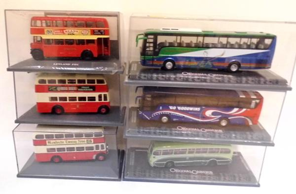 3 diecast buses & 3 coaches