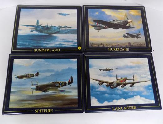 Selection of limited edition 'Magnificent Four' fighter plane tiles
