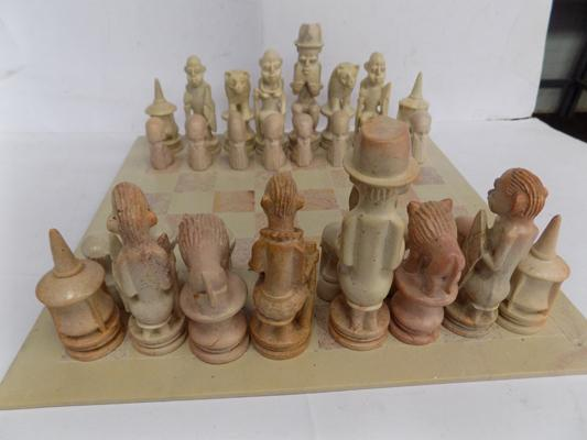 Large soapstone chess set with board, complete & undamaged