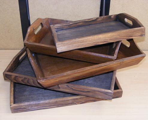 5x Vintage wooden trays