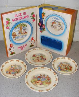 Johnson Brothers boxed Alice in Wonderland (no beaker) + selection of Royal Doulton Bunnykins