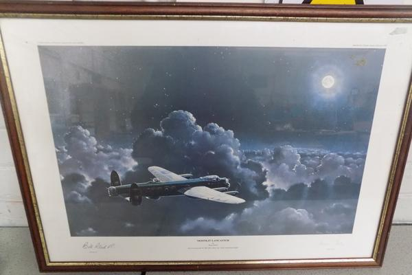 'Moonlit Lancaster' print signed by William Reid VC in 1999, Armed Forces Pilot in the RAF Bomber command during WWII also signed artist Brian Petch