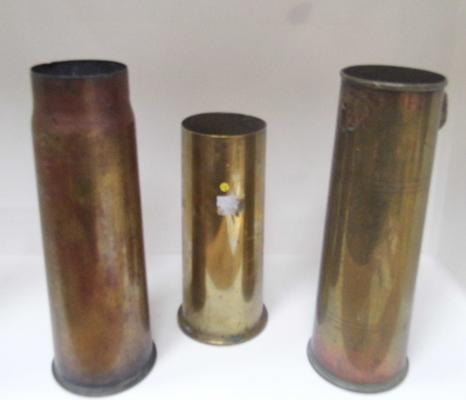 3 x WWI brass shell cases, 2 x 1917 & 1 x 1918. Shells are 12, 13 & 18 pounders - one with ram's head