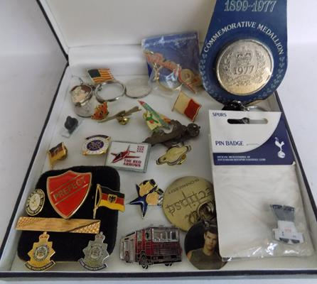 Box of badges - police, flags, red arrows etc...