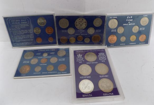 5 cased coin sets