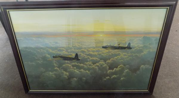 Large framed 'Evening Departure' print by Gerald Coulson