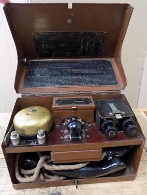 WWII field telephone & morse code receiver with headset. Telephone set D.M.K.V 1941