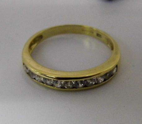 9ct gold & white sapphire 1/2 eternity ring, size P