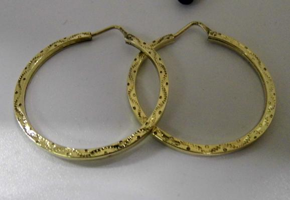 Pair of 9ct gold large hooped patterned earrings