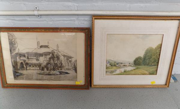 Pair of framed signed 'Yorkshire' pictures-1 watercolour & 1 etching