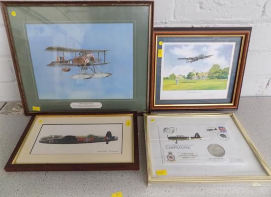 4 x War plane pictures inc commemorative coin cover- framed