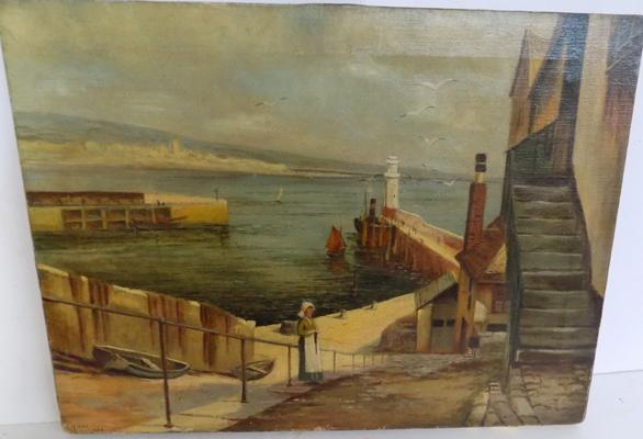 Oil on canvas, Penzance from Newquay harbour. M Marshall 1934
