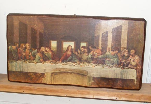 Large 'Last Supper' print on wooden plaque approx 30x16 inches