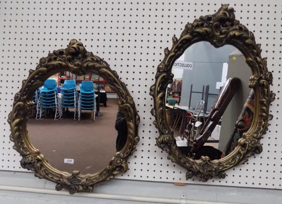 Pair of round & oval shaped mirrors with moulded frames