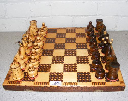 Wooden chess set with folding board/case