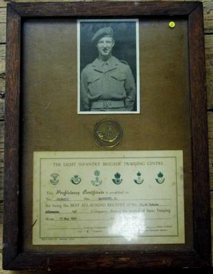 Light Infantry plaque/certificate