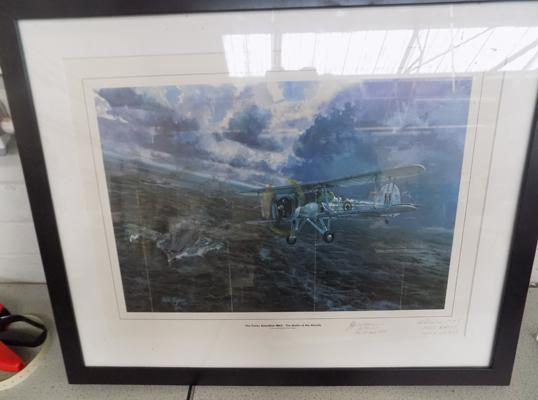The Fairy Swordfish MkII print signed by B Pearce of HMS Eagle & HMS Argus & Lieutenant Colonal Williams of GMS Biter