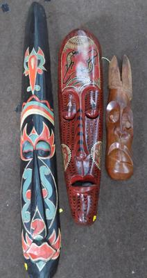 "3x Carved wooden masks-largest approx 57"" tall"