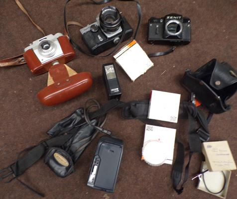 Collection of vintage cameras, cases, Hoya filters etc