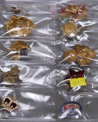 Collection of military badges + buttons