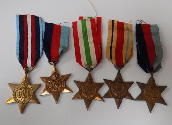 Set of 5 WWII Stars