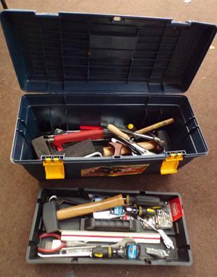 Work box & assorted tools