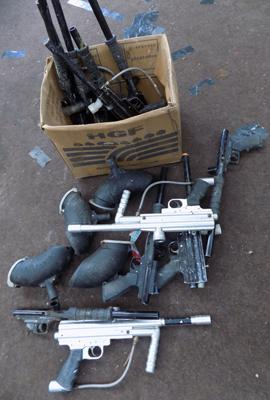 Box of paintball guns & paint loaders