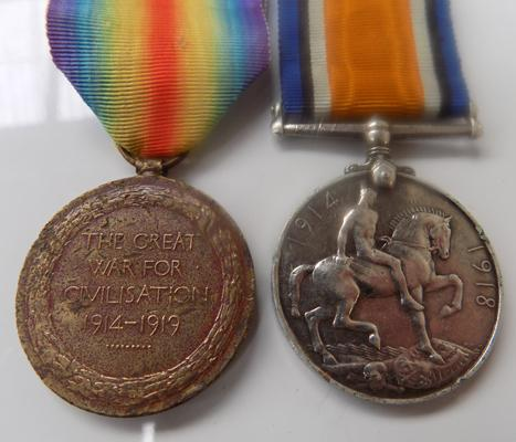 WWI medals-Victory Medal DVR JW Jubb, T-18962, War medal Pte WM Ackay A&S High R