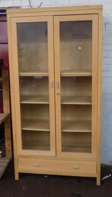 Wooden glass display cabinet & drawer