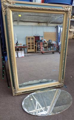 Ornate framed rectangular mirror approx 31x42 inches + bevel edged oval mirror approx 27 inches wide