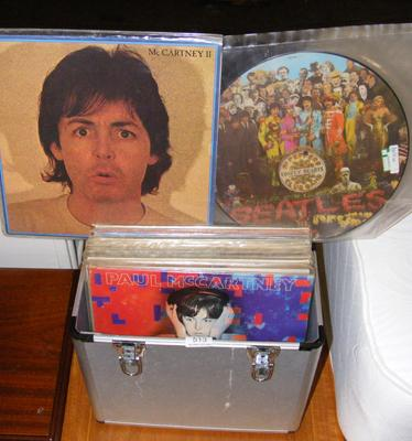 Case of Beatles & associated LP records