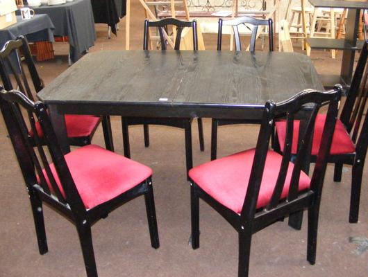 Black ash table and six chairs