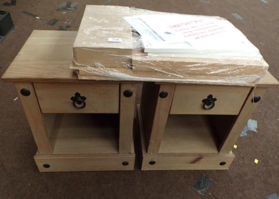2 x small wooden bedside cabinets, approx. 17 inches tall & one flat pack bedside cabinet