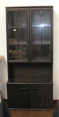 Black ash glass topped display unit