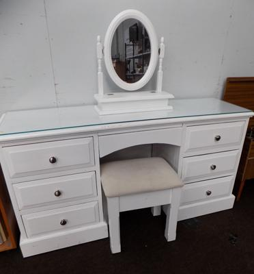White dressing table, buffet & mirror