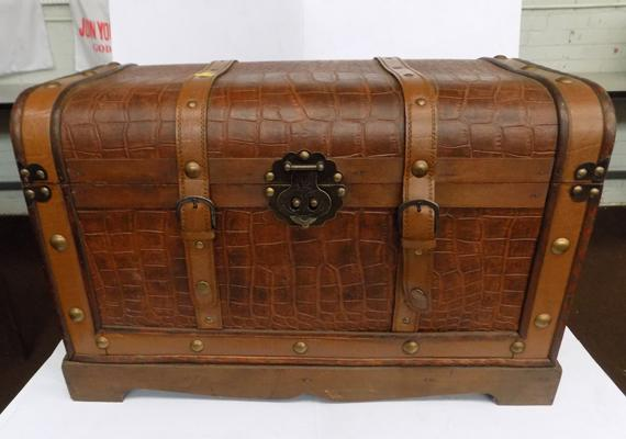 Leather trunk with metal handles & leather straps