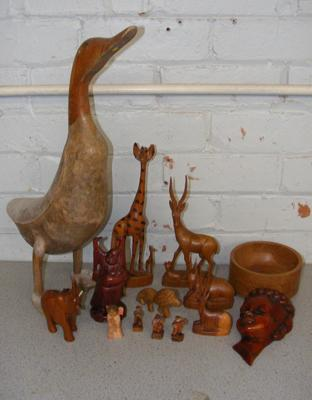 Collection of treen figurines inc large early duck