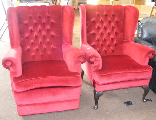 'His n Hers' button back fireside chairs